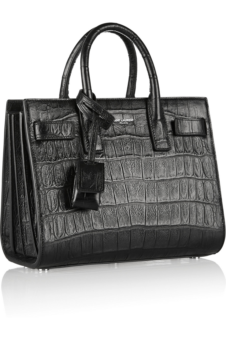 lyst saint laurent sac de jour nano croc effect leather shoulder bag in black. Black Bedroom Furniture Sets. Home Design Ideas