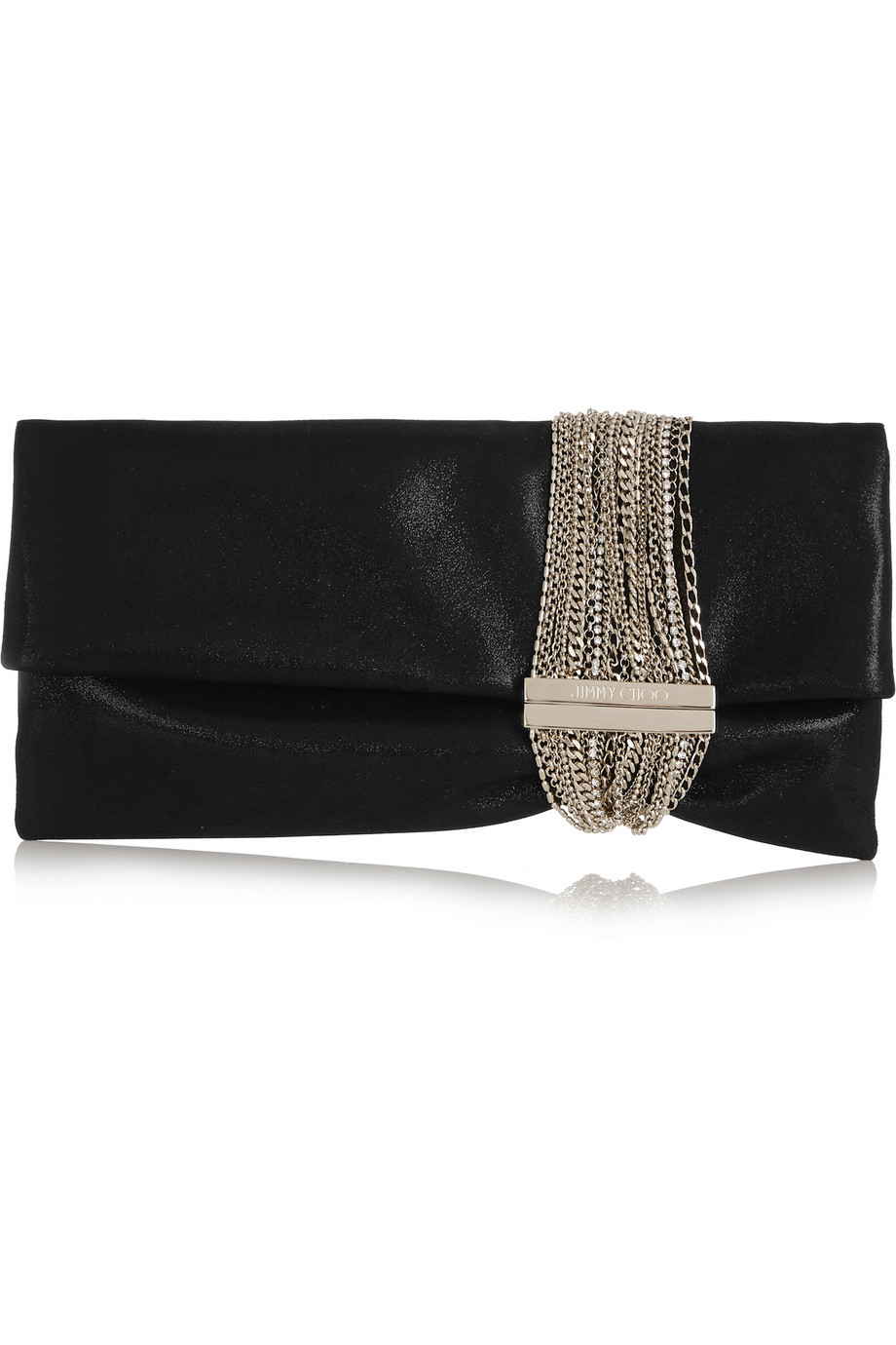 jimmy choo chandra chain embellished shimmer suede clutch in black lyst. Black Bedroom Furniture Sets. Home Design Ideas