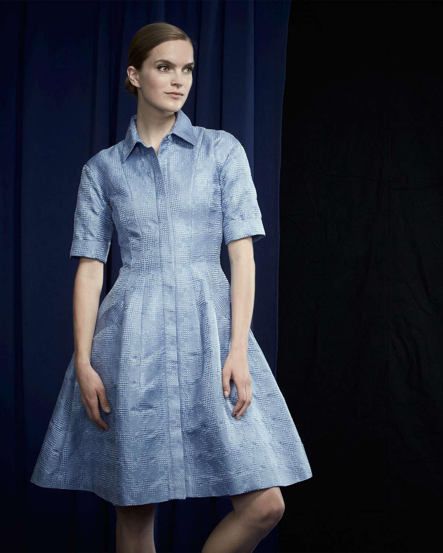 Oscar de la renta Half-sleeve Embroidered A-line Shirtdress in ...