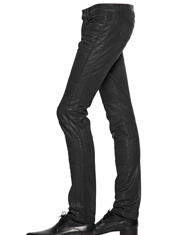 Diesel black gold 16.5cm Shiny Coated Stretch Denim Jeans in Black