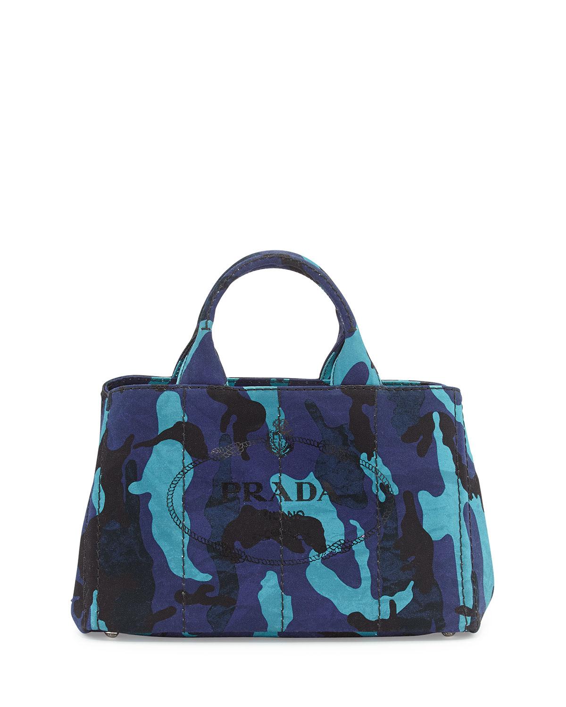 Prada Canapa Canvas Camouflage Gardener\u0026#39;S Tote Bag in Blue (ROYAL ...