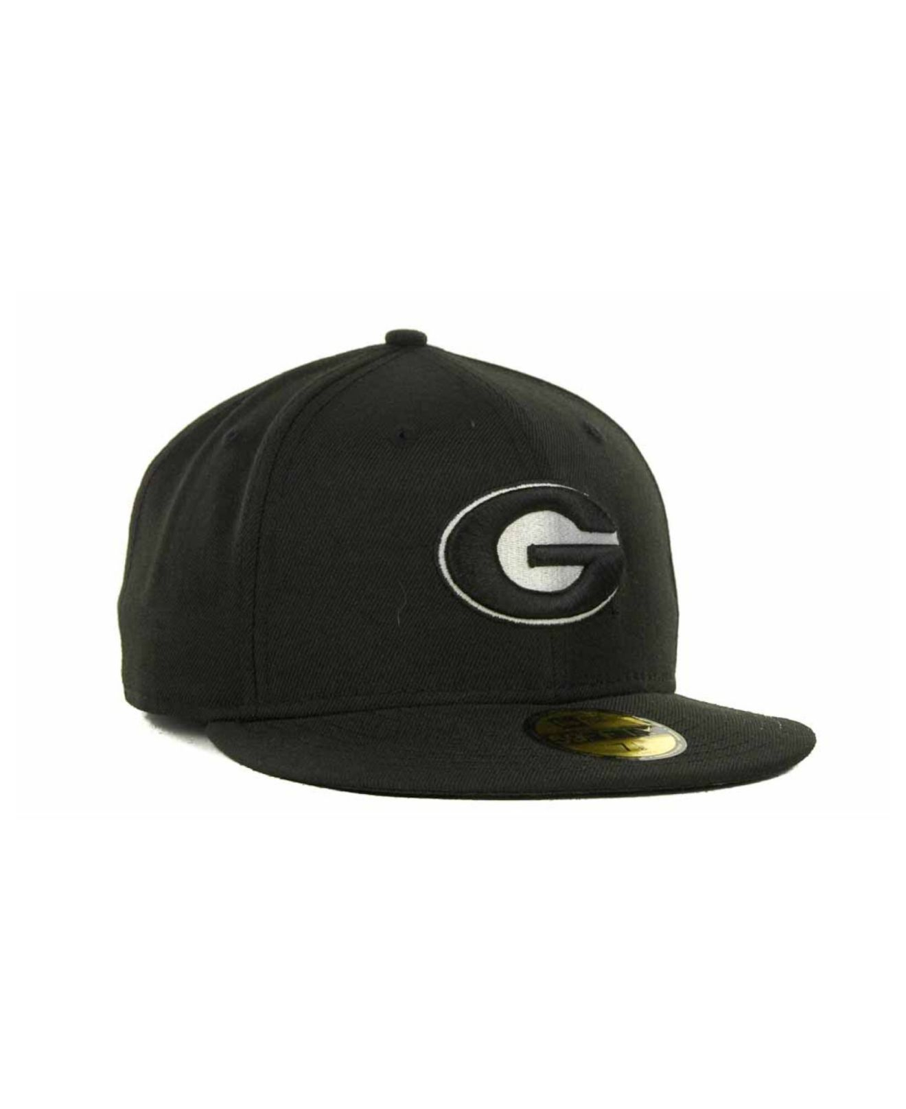 Georgia Bulldog Fitted Hats: Ktz Georgia Bulldogs Black On Black With White