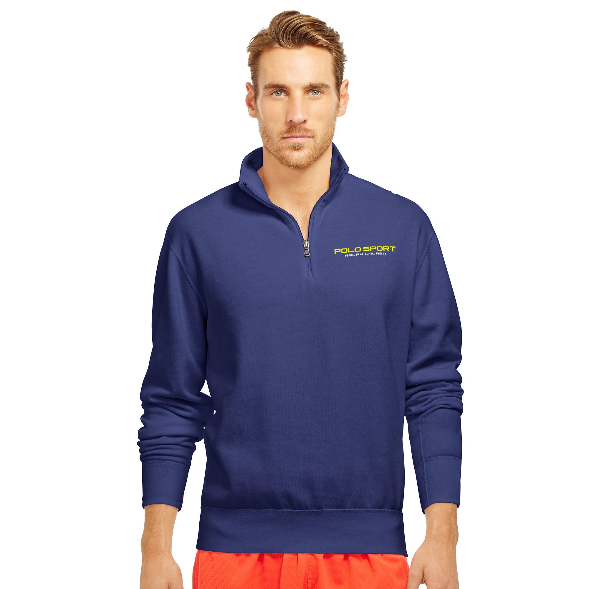 ... Ralph Lauren Darkblue Men Mesh Cotton Half-zip Sweaters