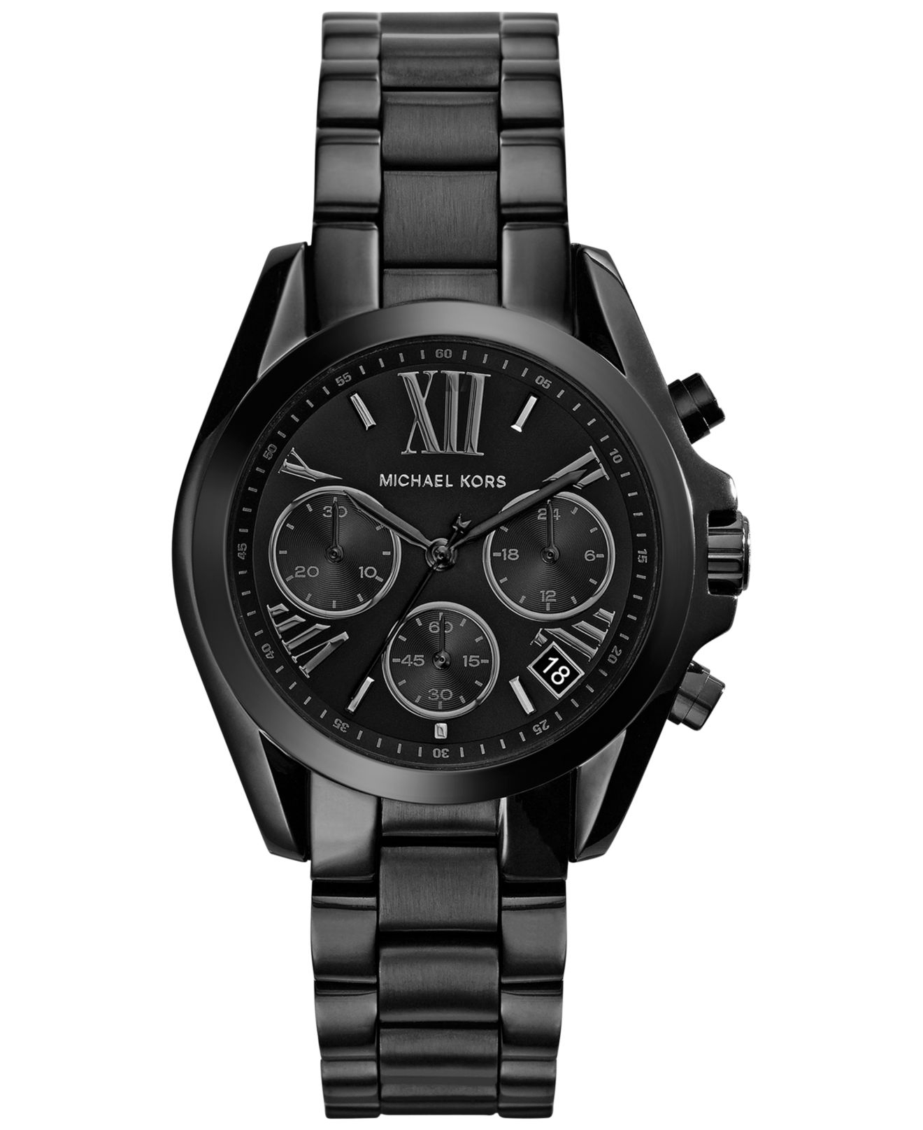 Women S Chronograph Mini Bradshaw Black Ion Plated Stainless Steel Bracelet Watch 36mm Mk6058