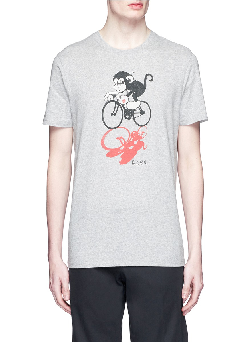 Paul smith 39 year of the monkey 39 print organic cotton t for Organic cotton t shirt printing