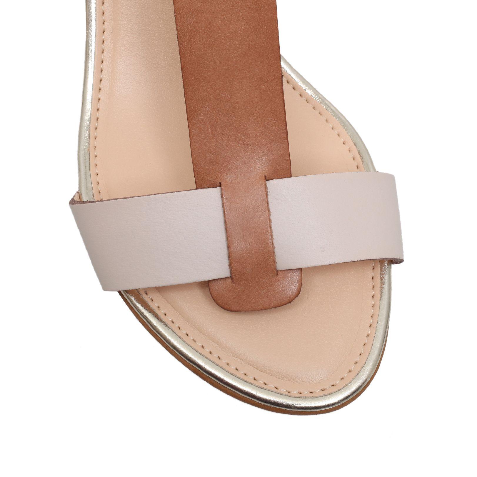 carvela kurt geiger keeping mid wedge sandals in brown lyst