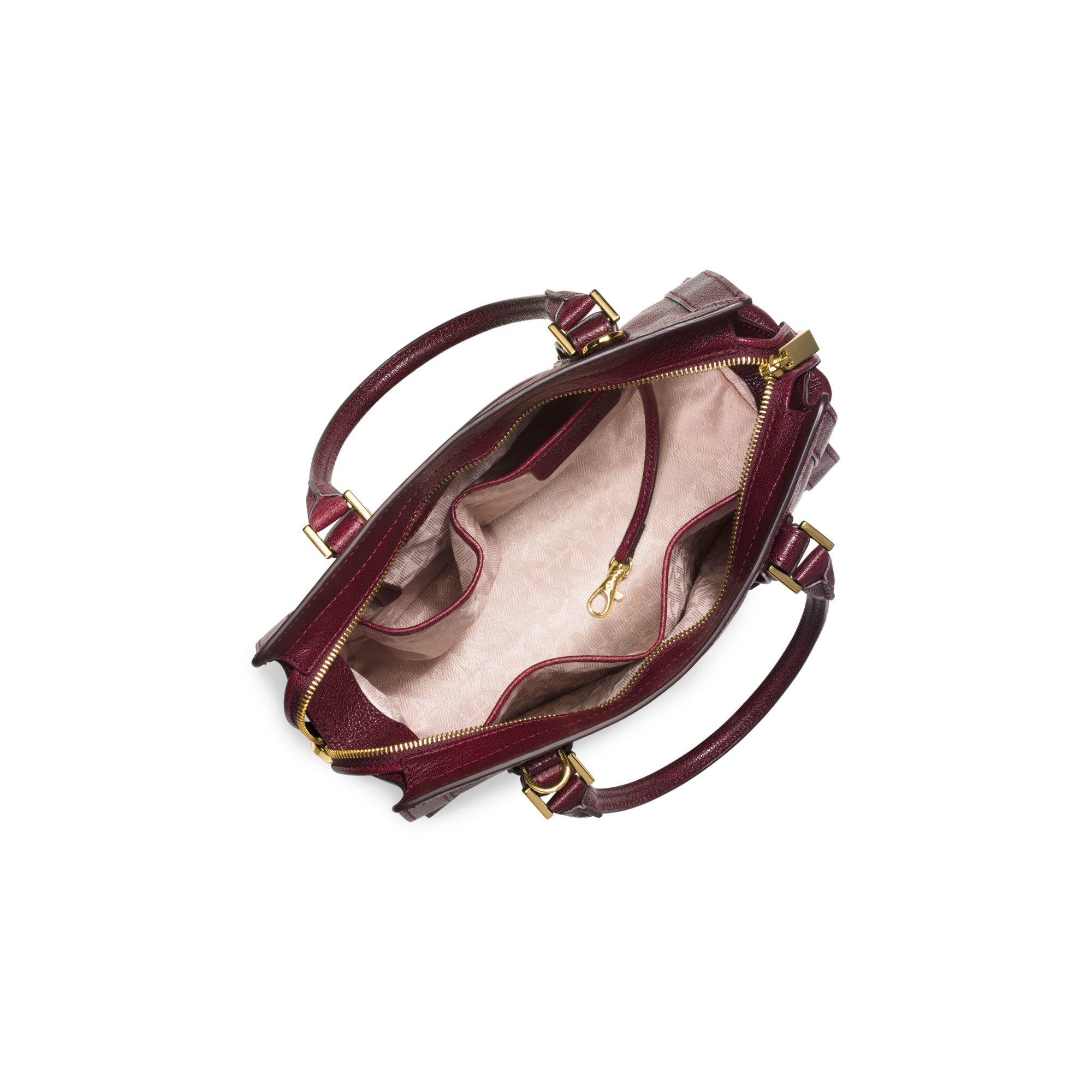 f94ff069f915 closeout michael kors hamilton medium satchel bag e4326 60972  discount  code for lyst michael kors collins stud medium leather satchel in red 6e823  e517e