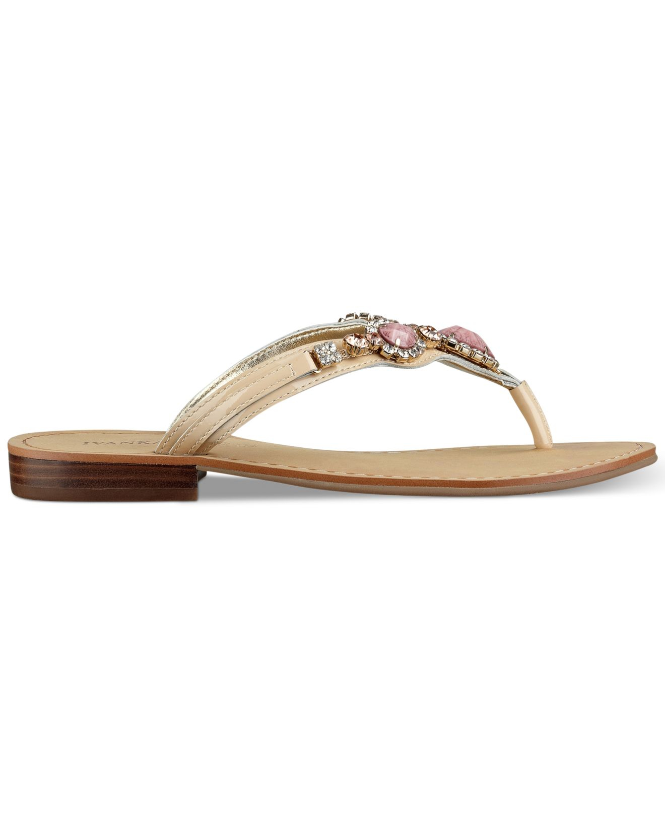 Ivanka Trump Palla Jeweled Thong Sandals In Pink Lyst