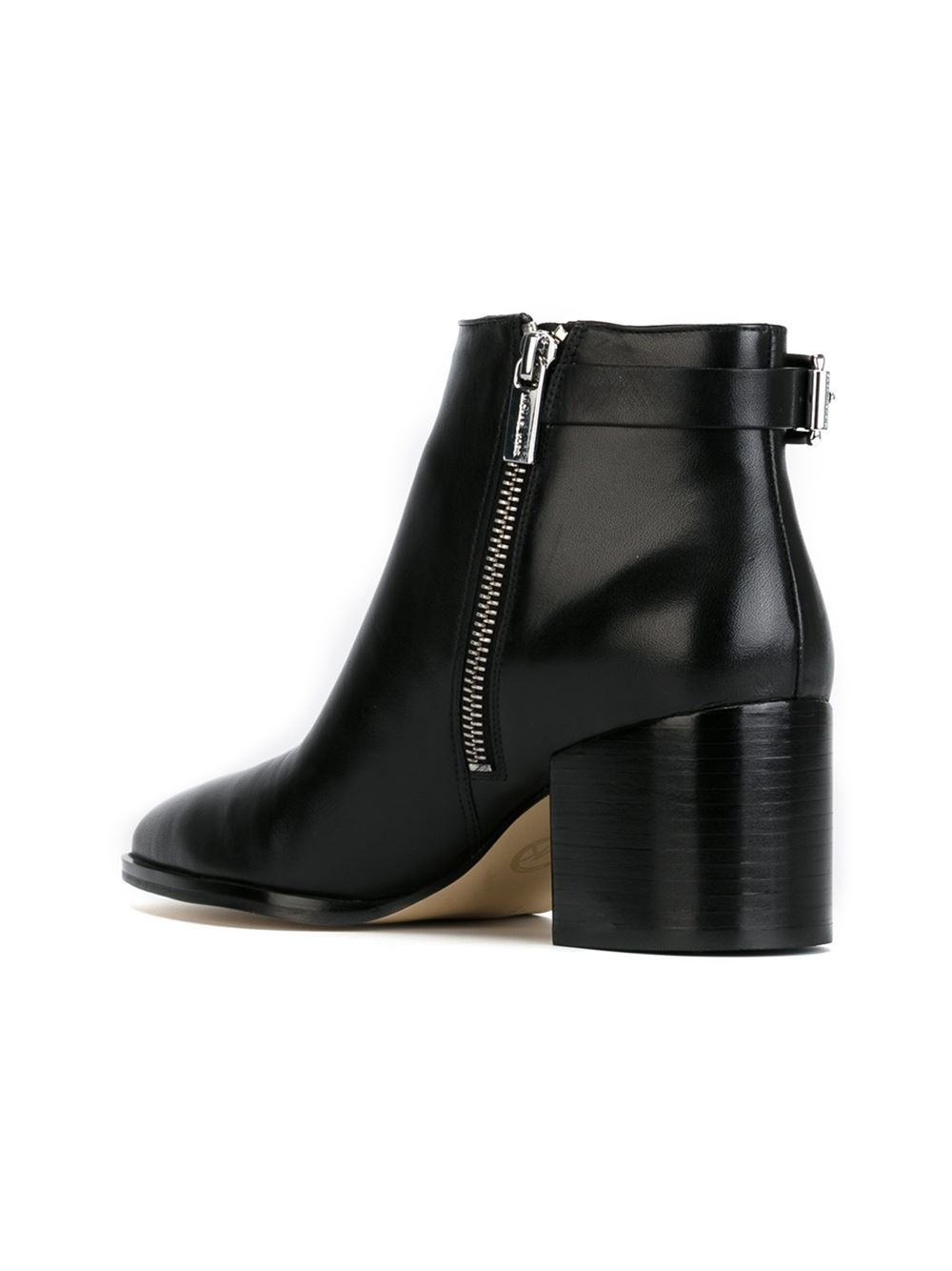 MICHAEL Michael Kors Leather Buckle Detail Ankle Boots in Black