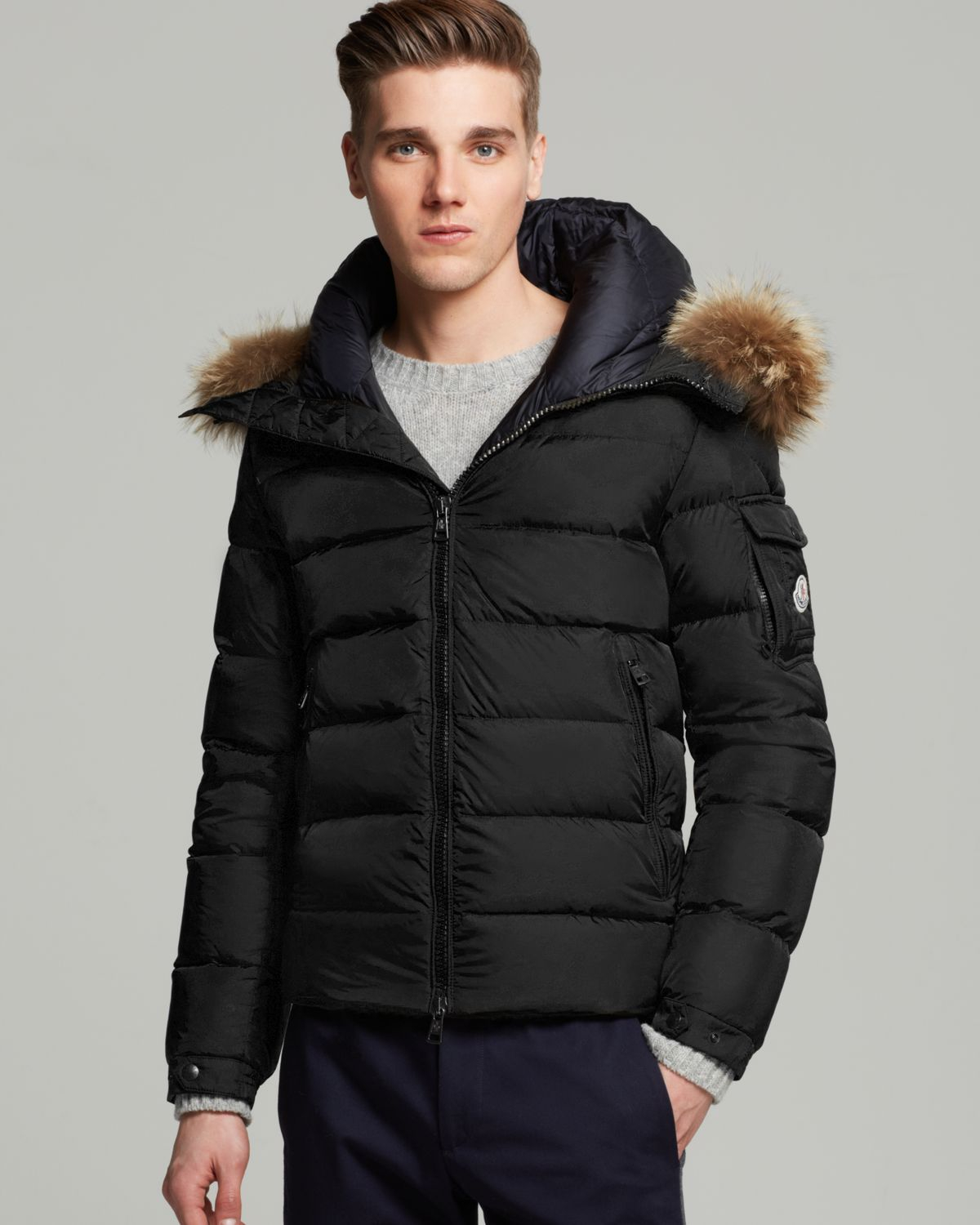 0d887e9d4d5cf Moncler Byron Down Jacket With Fur Hood in Black for Men - Lyst