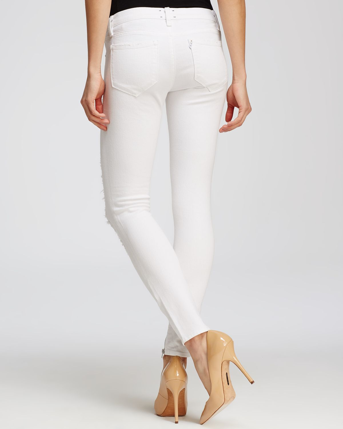 D-ID Jeans - Florence Ankle Skinny In White Destroy