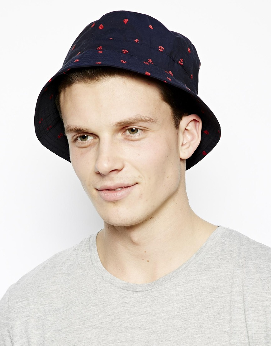 e64ac12b19434 ASOS Bucket Hat with Anchor Embroidery in Blue for Men - Lyst