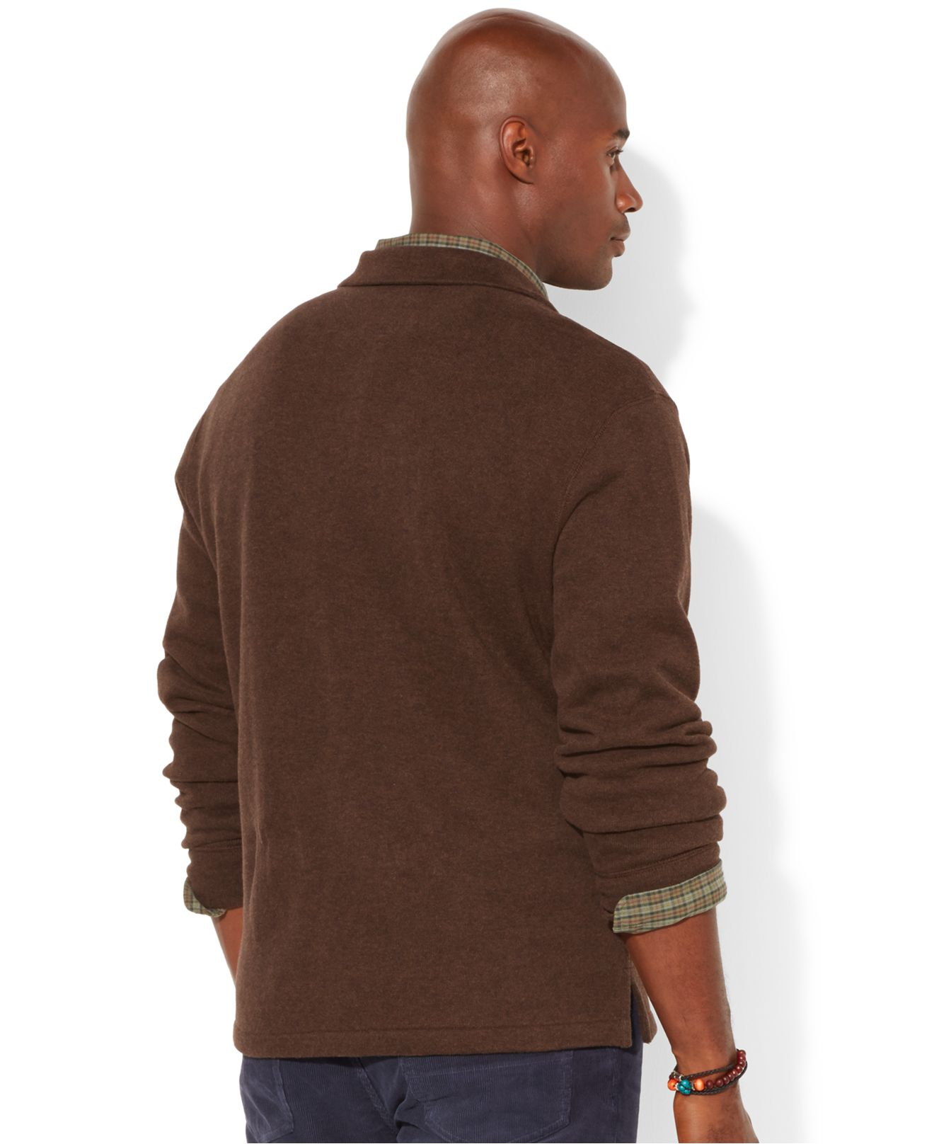 lyst polo ralph lauren big and tall half zip french rib sweater in brown for men. Black Bedroom Furniture Sets. Home Design Ideas