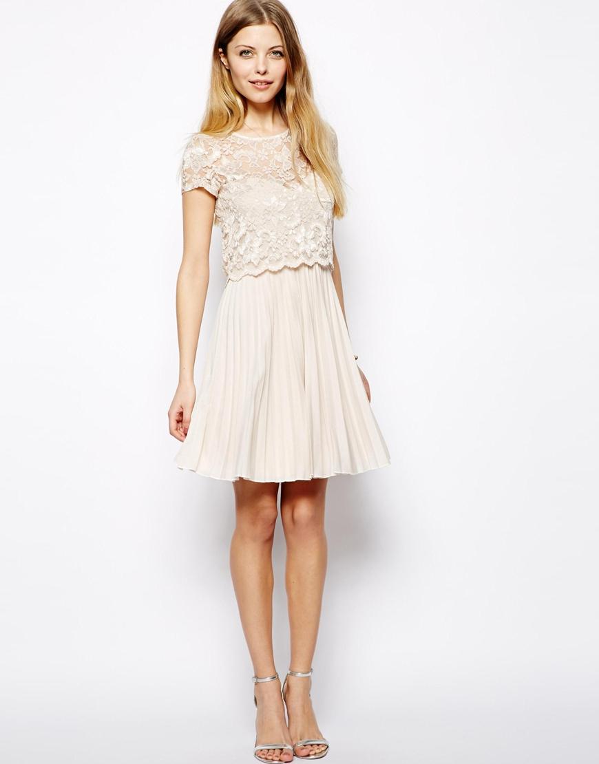 Asos Lace Top Pleat Mini Dress in Black   Lyst