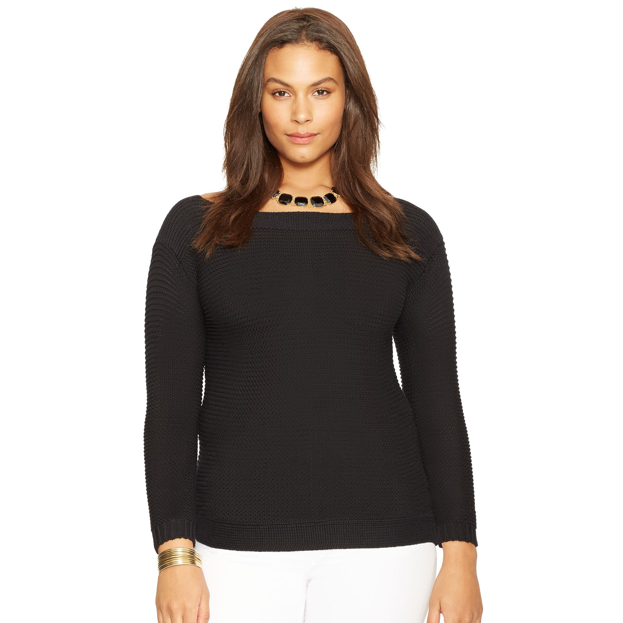 Ralph lauren Cotton Boatneck Sweater in Black | Lyst