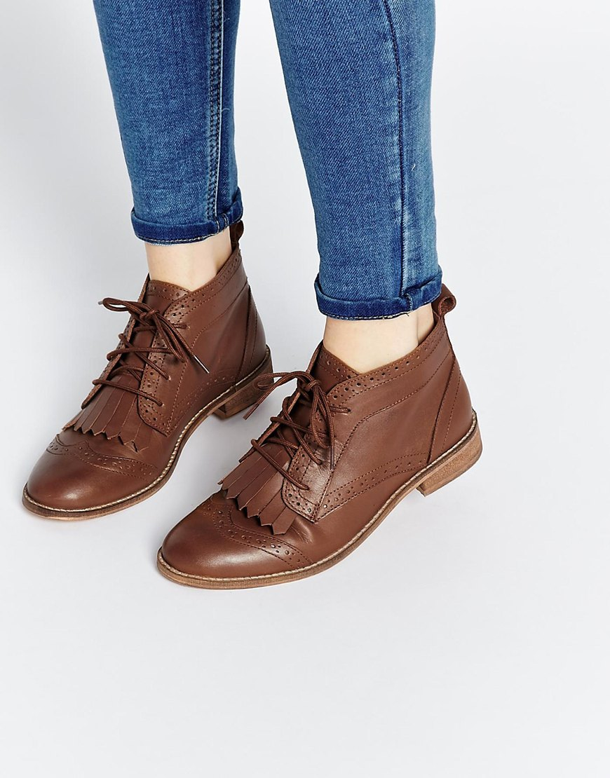 Asos Abery Brogue Lace Up Leather Ankle Boots in Brown | Lyst