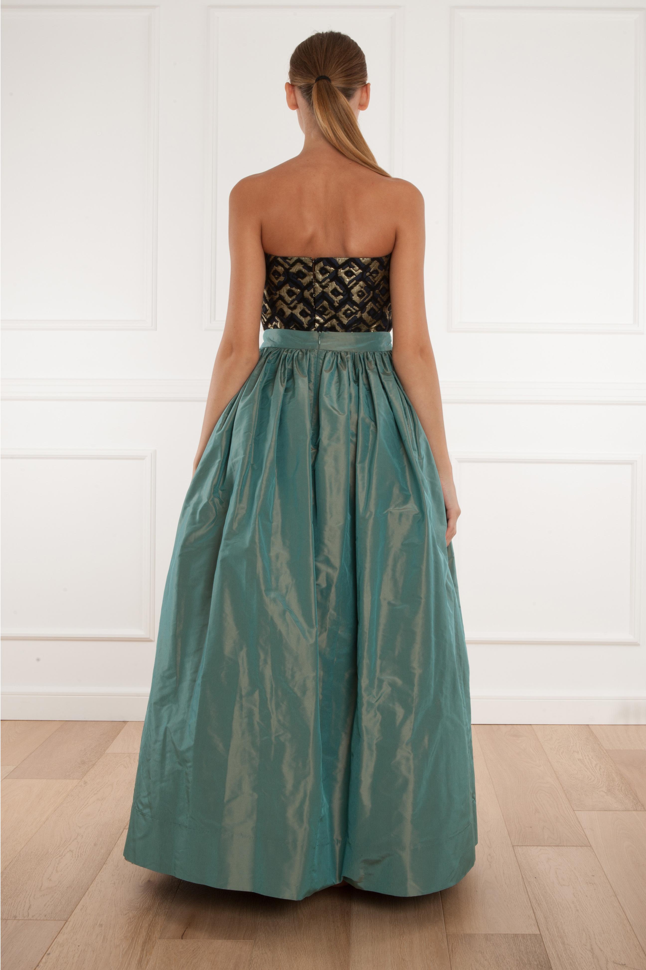 Martin grant Long Taffeta Skirt in Green | Lyst