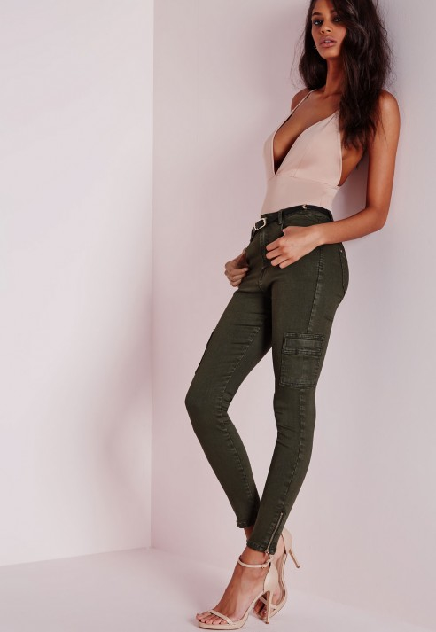 Missguided Sinner High Waisted Cargo Pocket Skinny Jeans Khaki in Natural