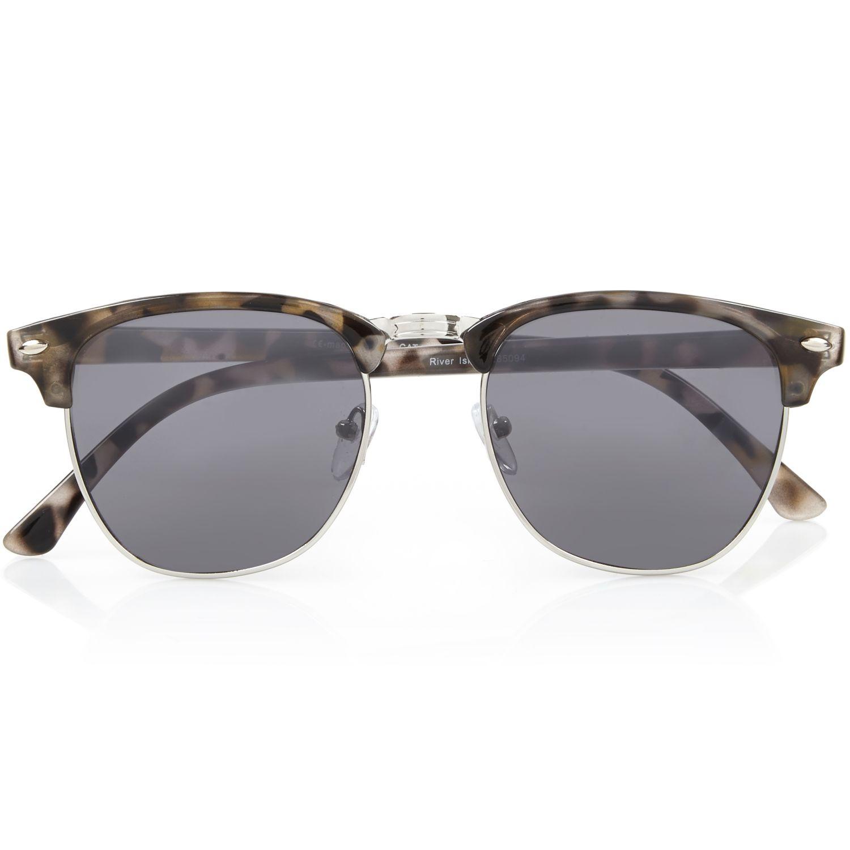 Half Frame Tortoise Shell Glasses : River Island Brown Tortoise Half Frame Retro Sunglasses in ...