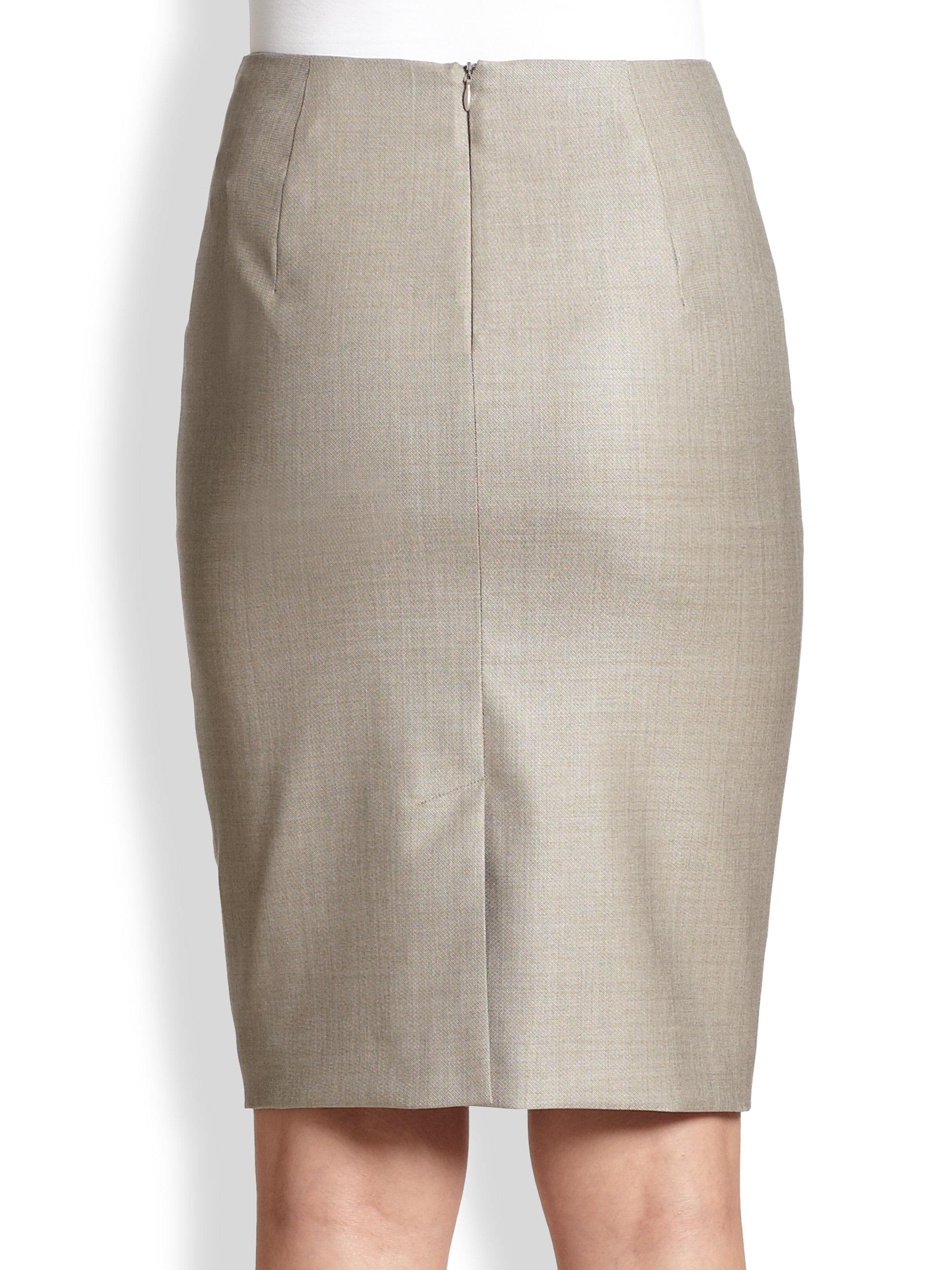 Max mara Hidesia Wool Silk Pencil Skirt in Gray | Lyst