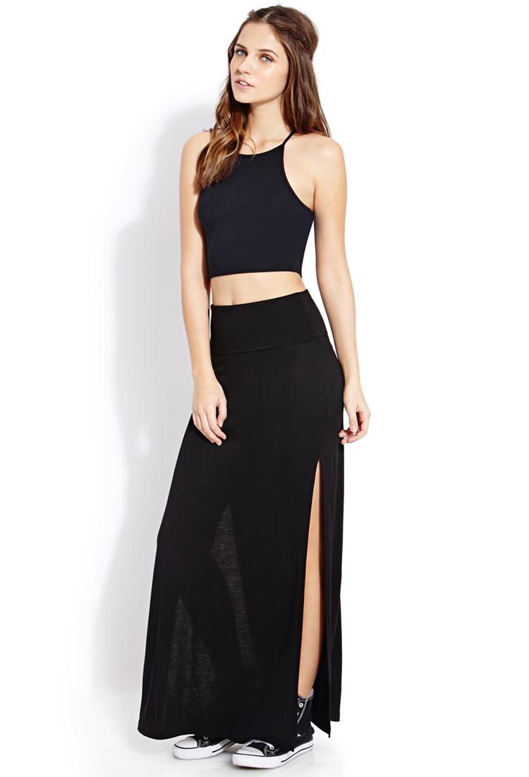 forever 21 fold m slit maxi skirt in black lyst