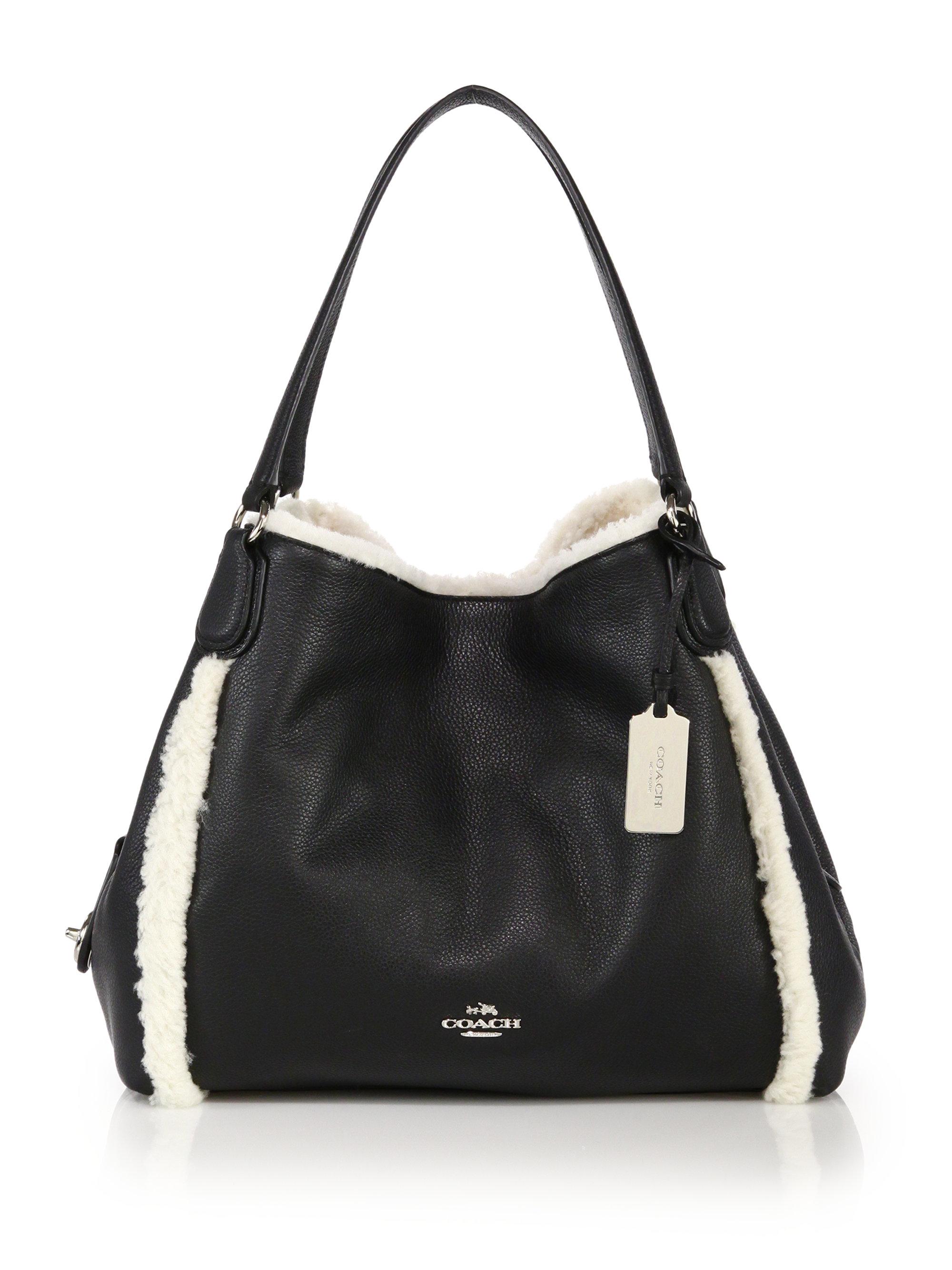 Coach Edie Shearling & Leather Shoulder Bag in Black | Lyst