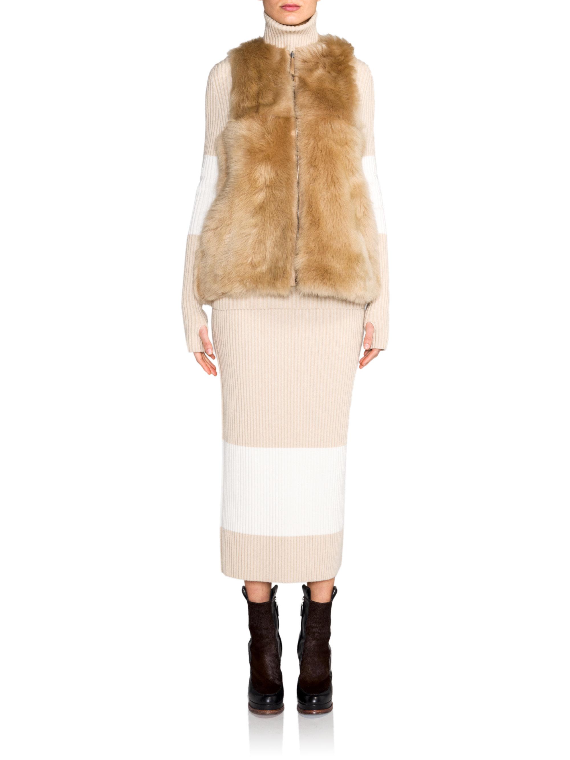 Fendi Shearling Fur Vest In Camel Brown Lyst