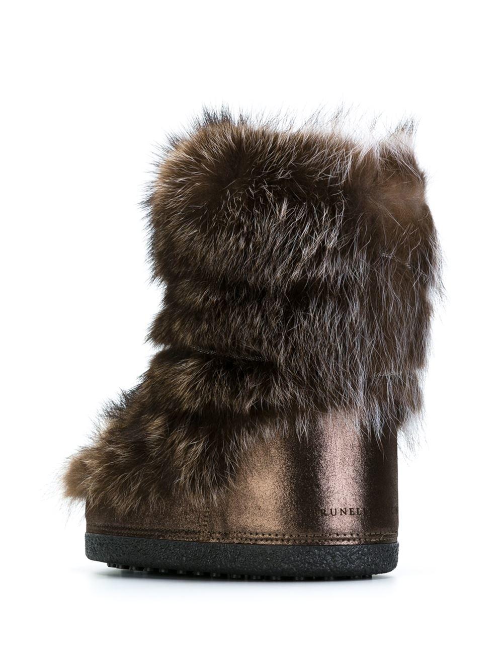 brunello cucinelli raccoon fur trimmed boots in brown lyst
