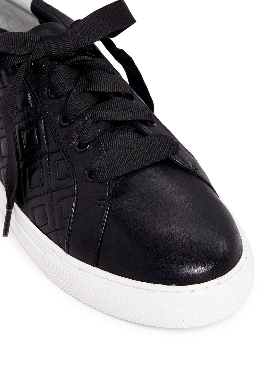 86098a29356f5 Lyst - Tory Burch  marion  Quilted Leather Sneakers in Black