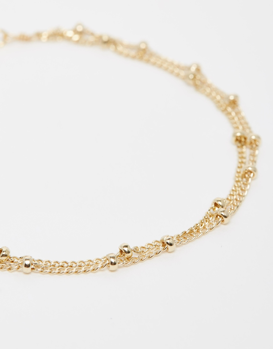 dogeared gold plated keep it simple 2 strand beaded chain
