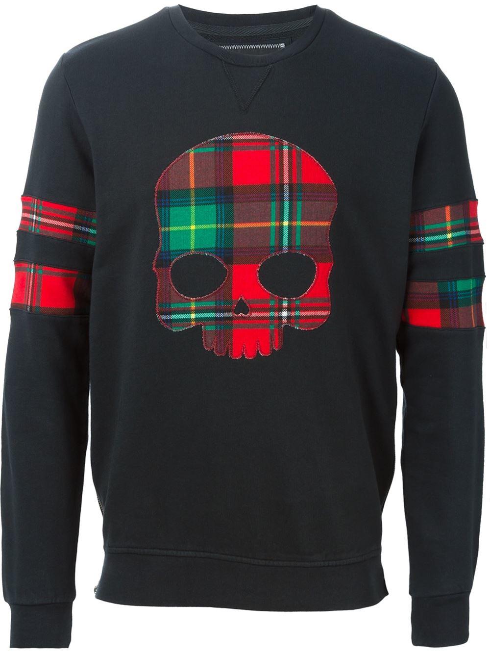 Hydrogen Applique Skull Sweatshirt in Black for Men