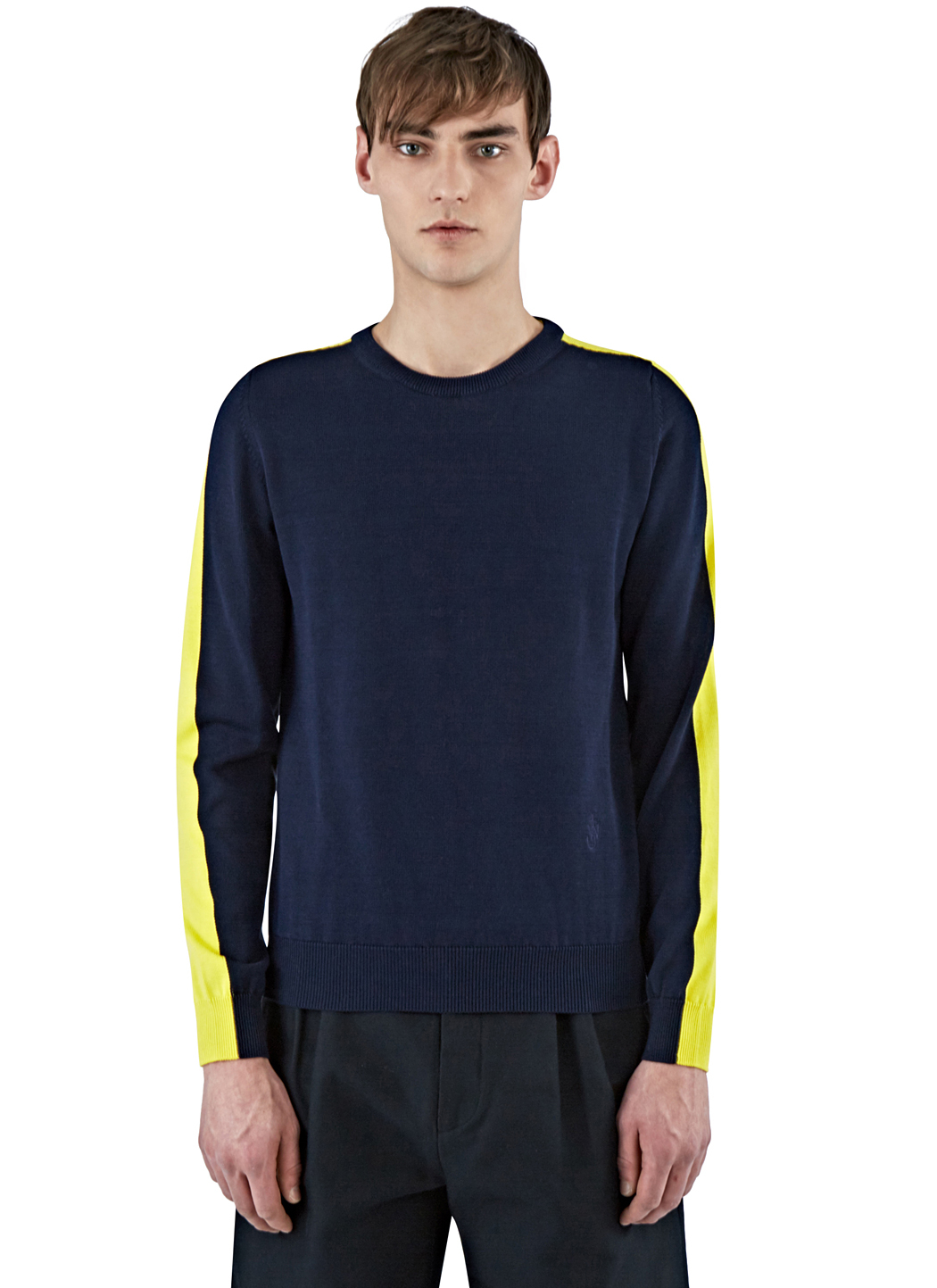 J.w.anderson Men's Bi-colour Crew Neck Sweater In Navy And Yellow ...