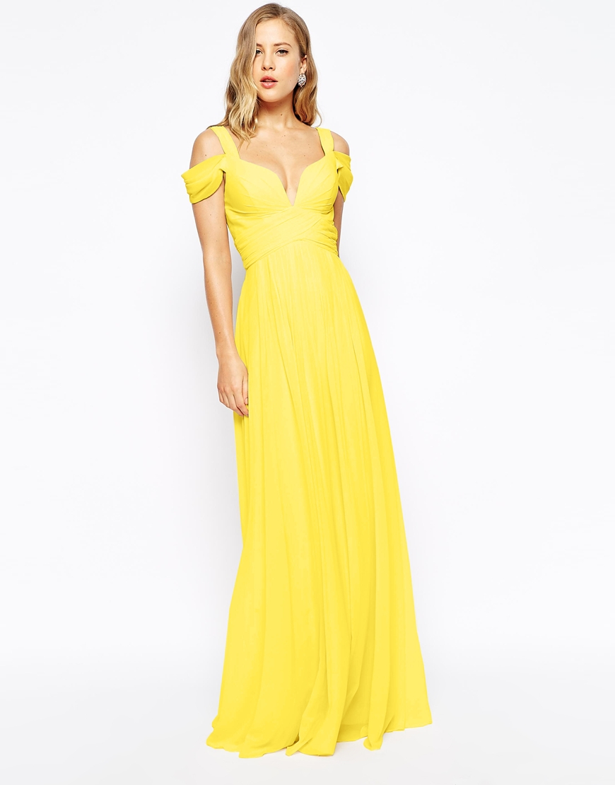 Forever unique Sweetheart Maxi Dress With Off Shoulder in Yellow ...