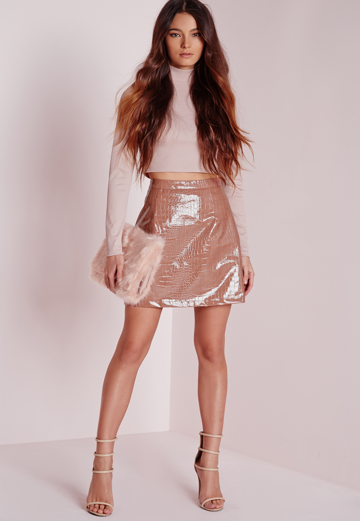 missguided croc faux leather a line skirt pink in