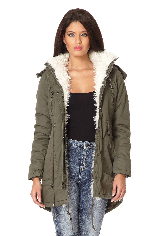 Quiz Faux Fur Trim Hooded Parka Jacket In Green Lyst