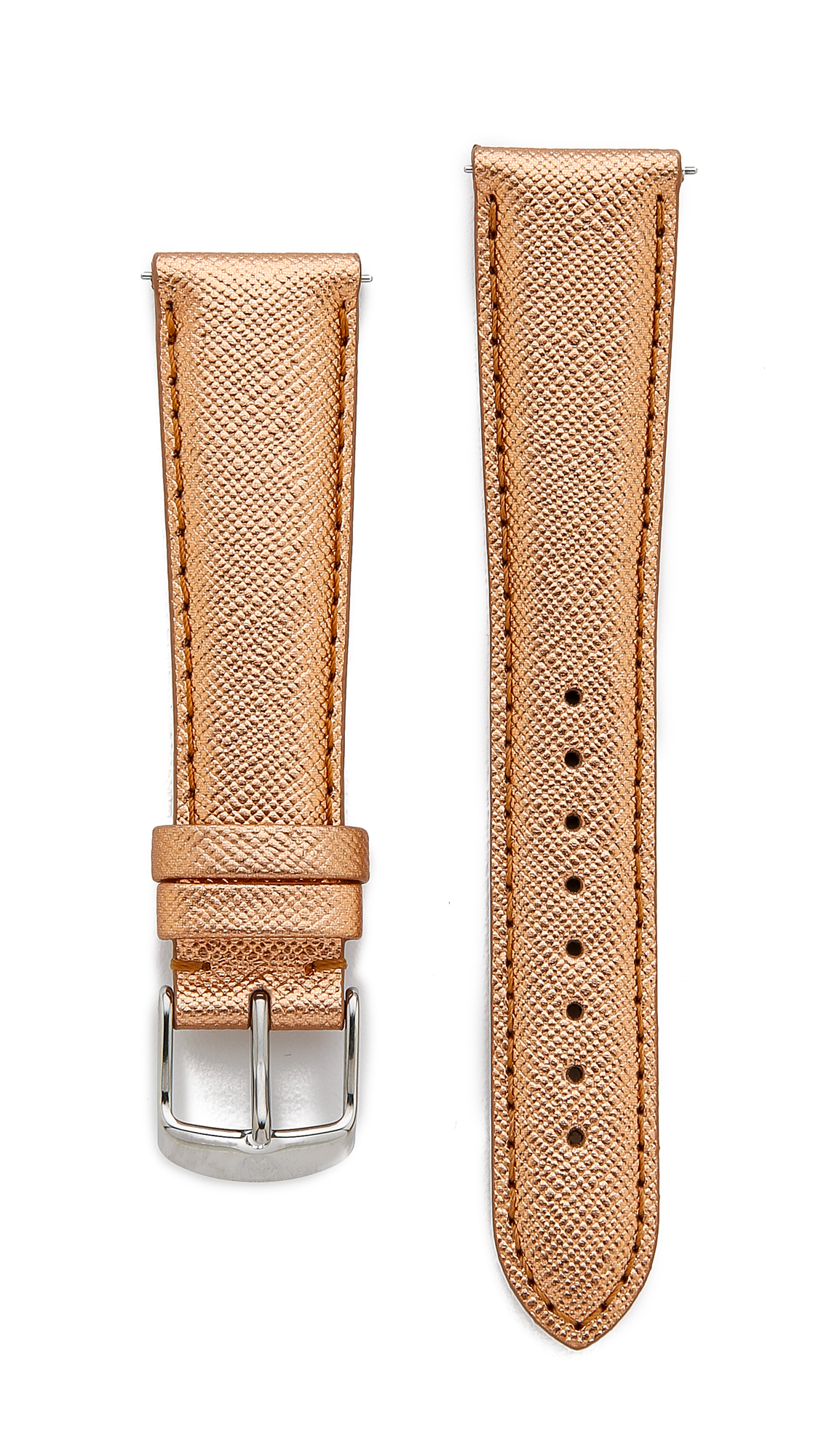 Michele 20mm Saffiano Leather Watch Strap Rose Gold In