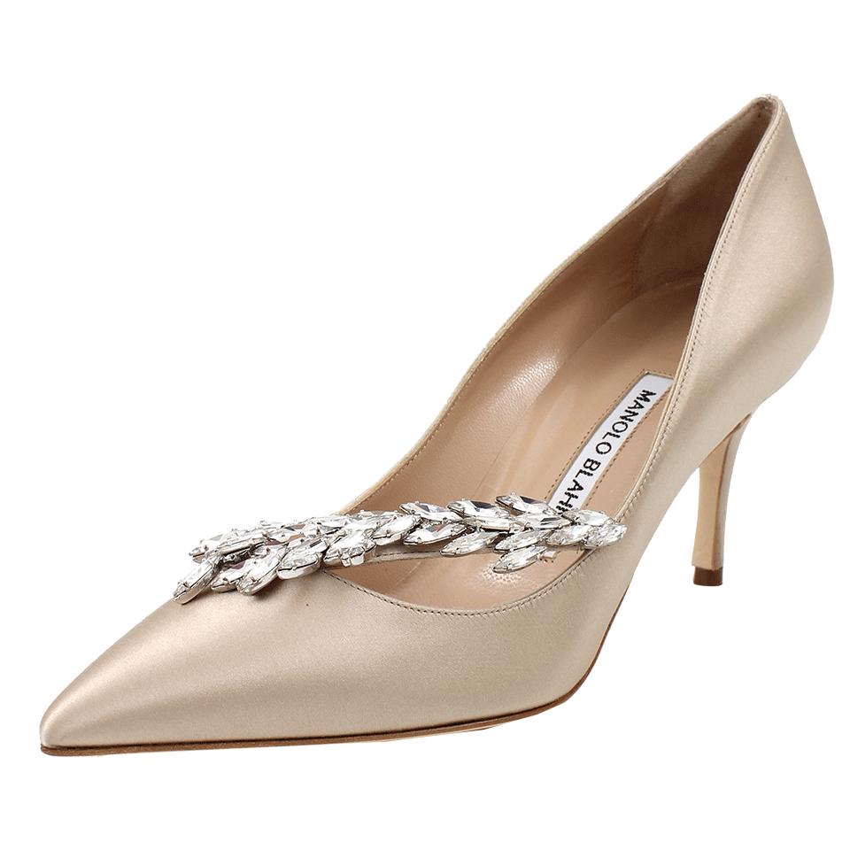 Manolo blahnik nadira 70mm pump with crystals in beige for Shoes by manolo blahnik
