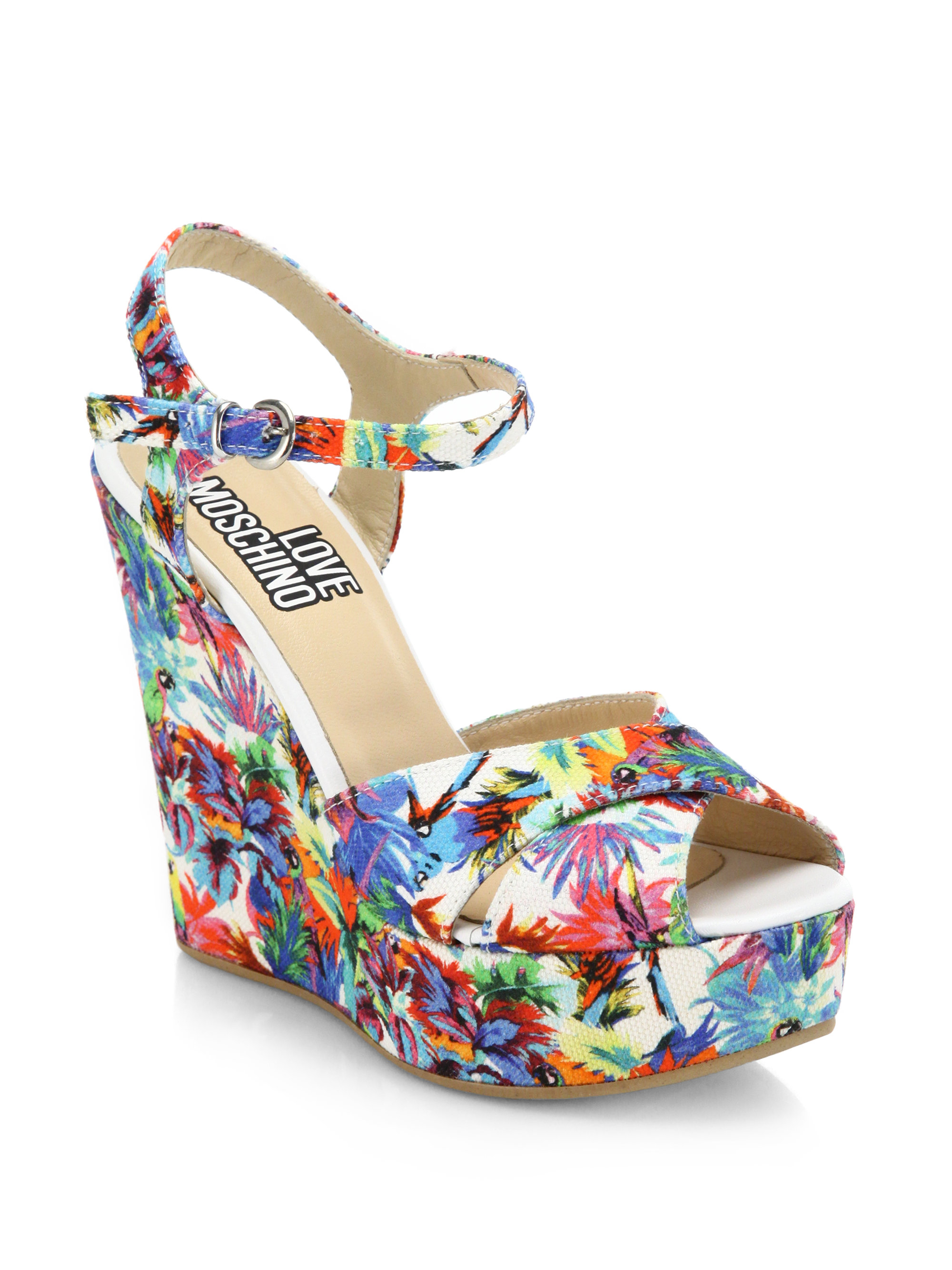 a8642e1d95c Lyst - Love Moschino Jungle Printed Canvas Wedge Sandals