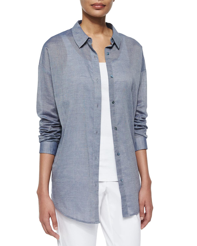 2a718166b9dd3c Lyst - Eileen Fisher Long-sleeve Chambray Open Back Shirt in Blue
