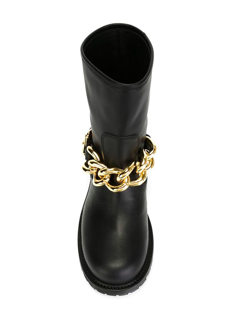 Giuseppe Zanotti Curb Chain Biker Boots in Black