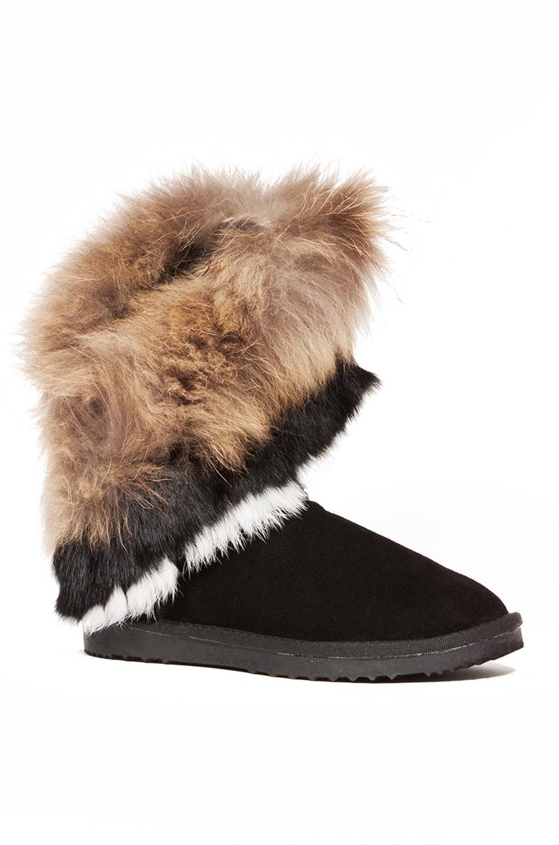 AKIRA Jackie Genuine Suede Fur Trim Boots in Black