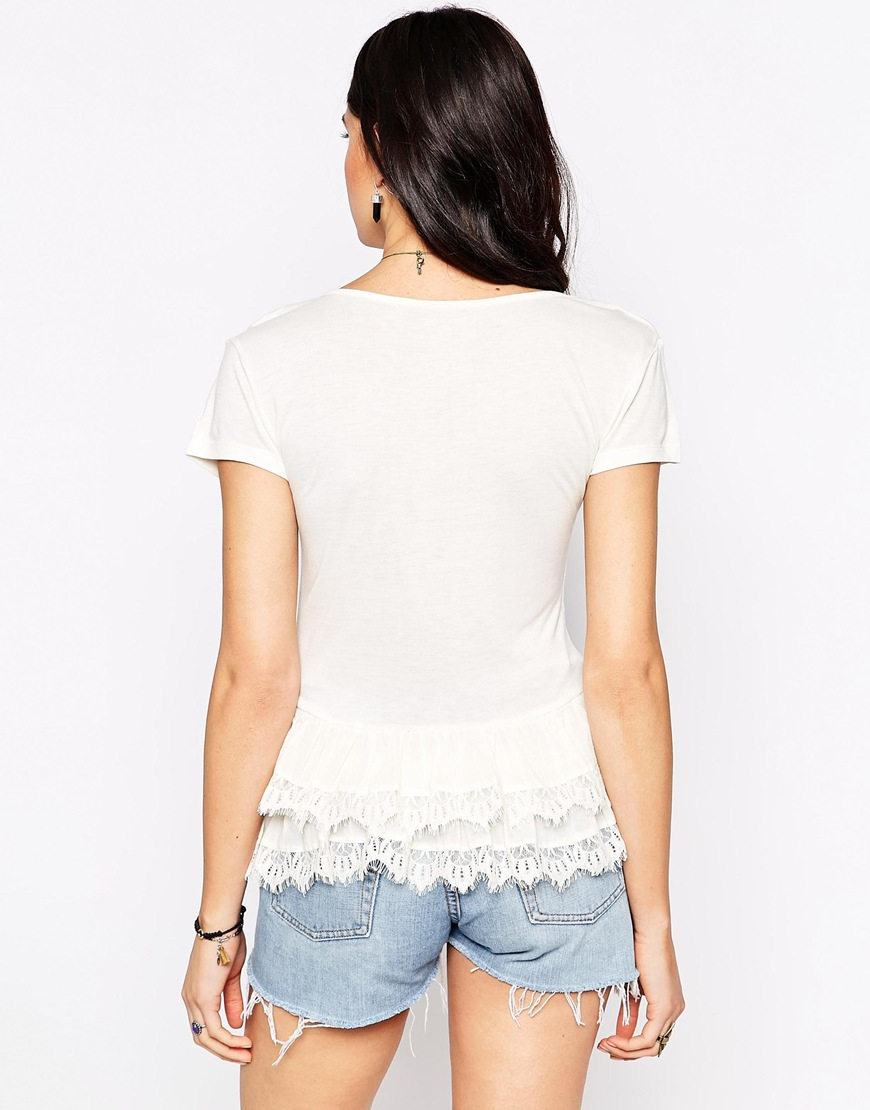 Lyst candela nyc candela top with ruffle hem in white for Best dress shirts nyc