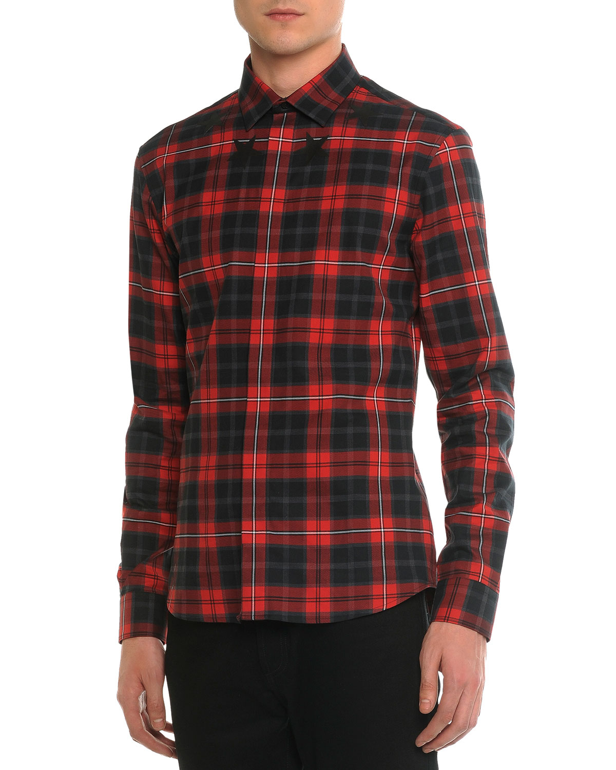 9f129aaac43c Lyst - Givenchy Plaid Woven Shirt With Star-detail in Red for Men
