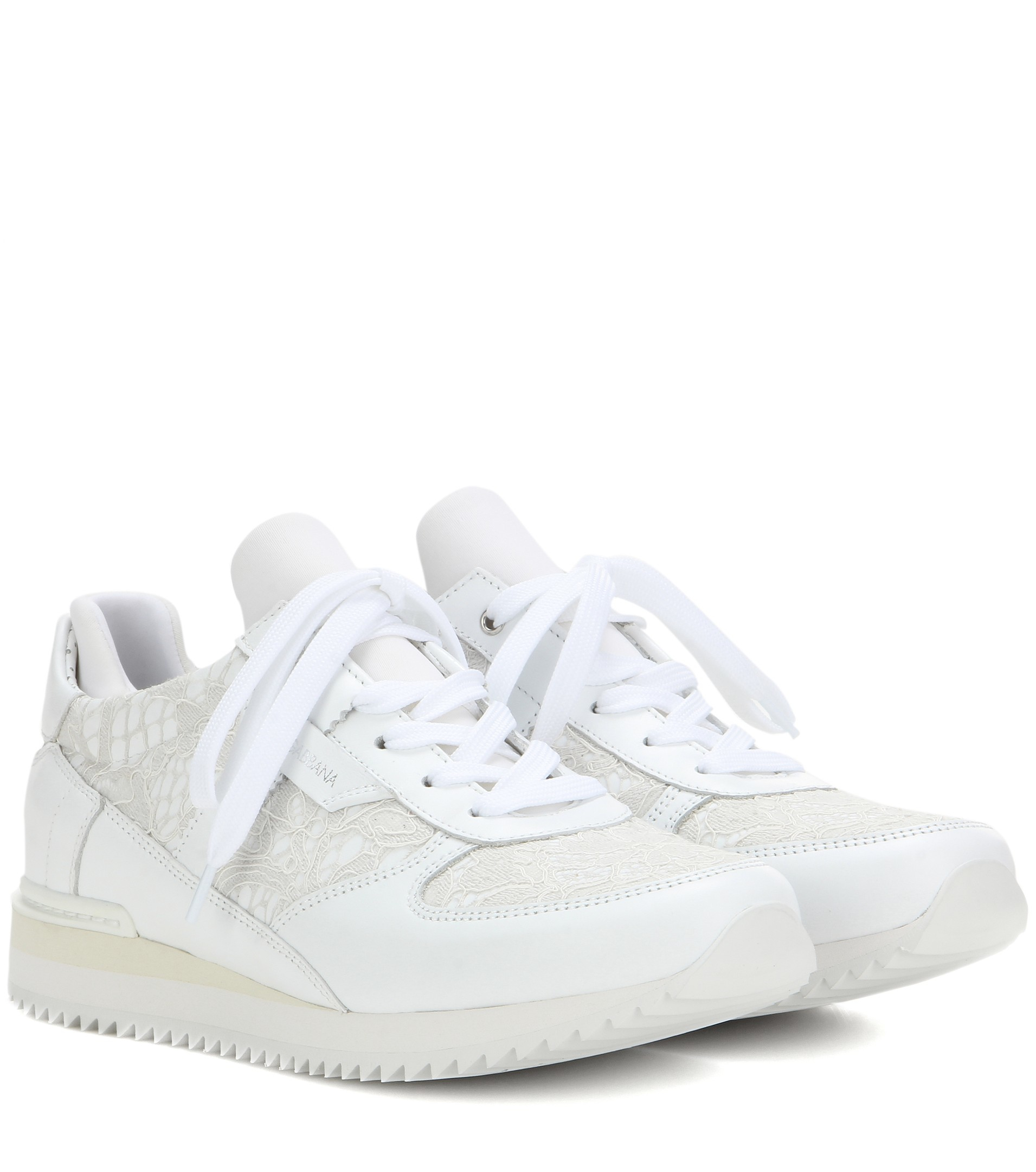 Dolce & Gabbana Lace And Leather Sneakers in White