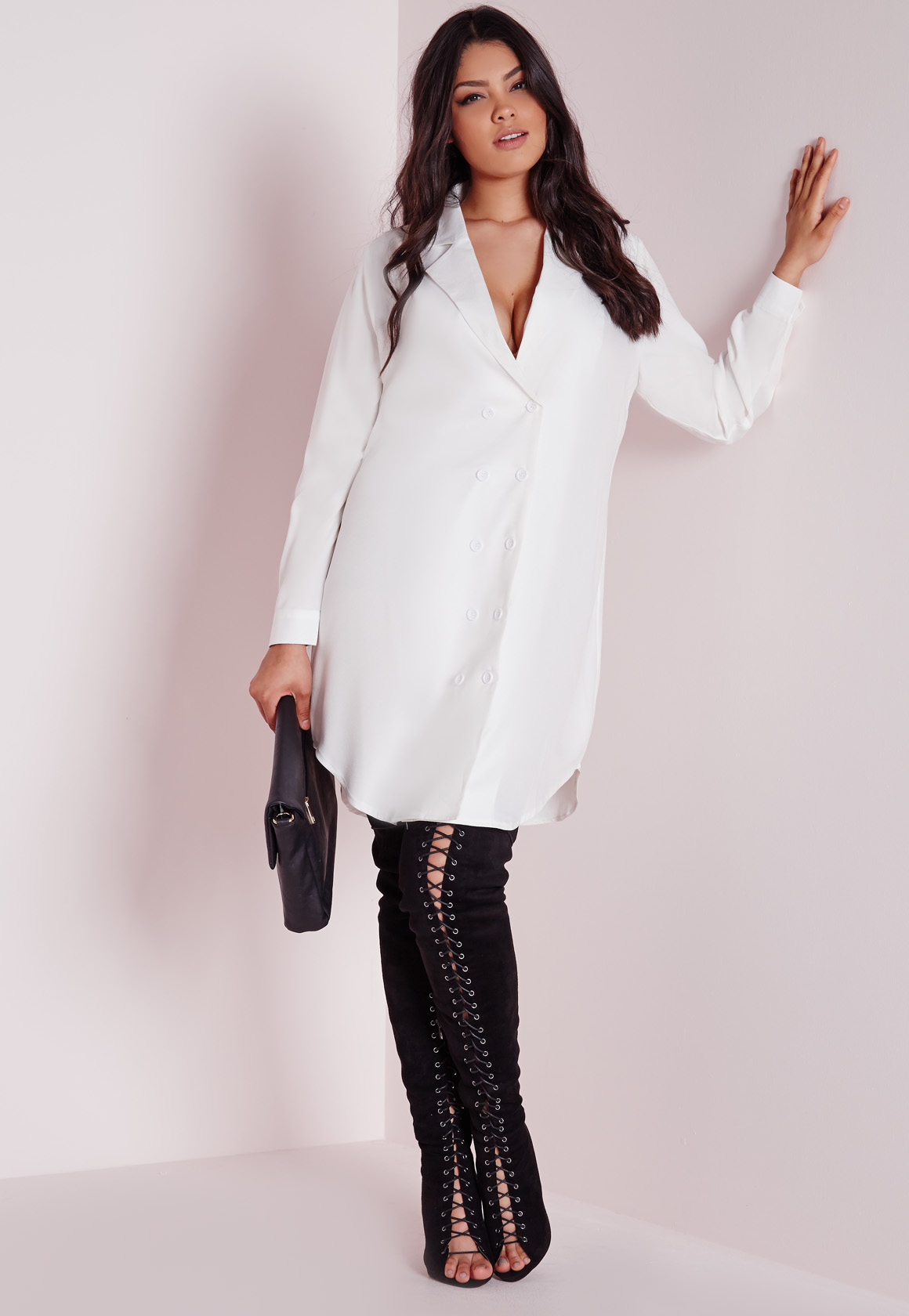 Plus Size Tuxedo Shirt Dress White