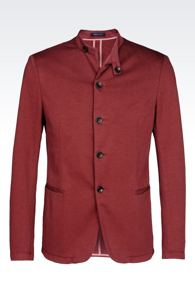 Lyst armani slim fit jersey jacket in red for men for Dinner shirts slim fit
