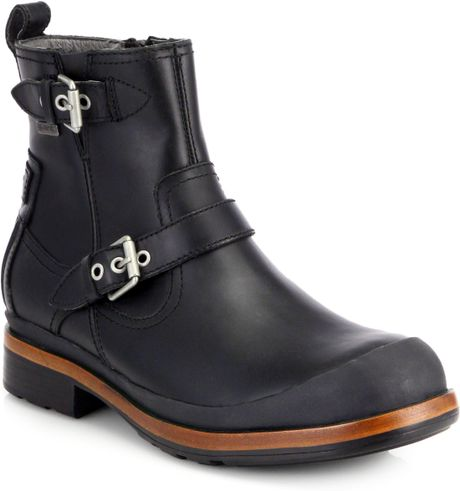 ugg alston leather buckle boots in black for lyst