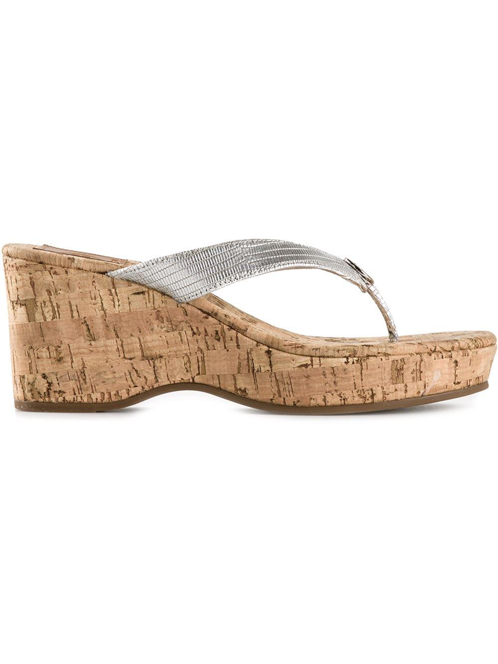 Lyst Tory Burch Cork Wedge Sandals In Metallic