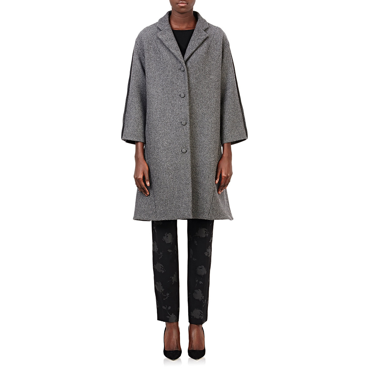 Nina ricci Tweed Swing Coat in Gray | Lyst