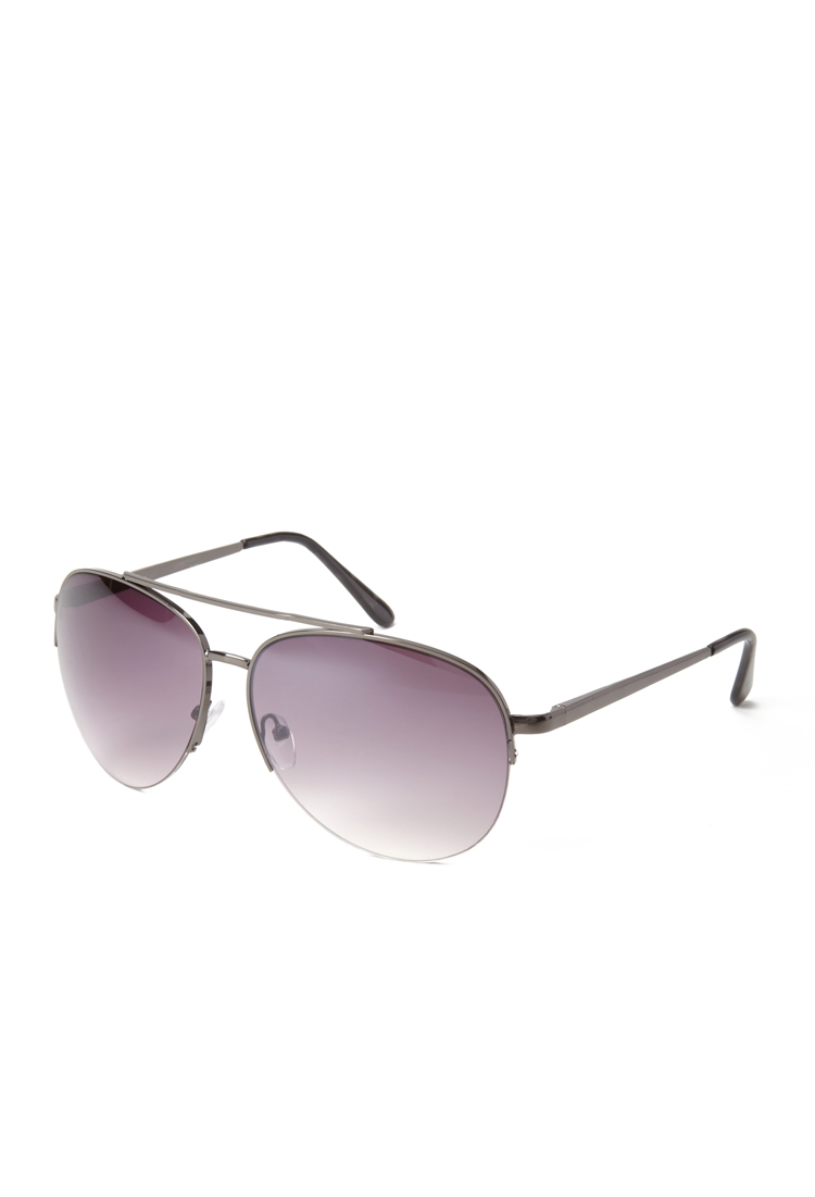Forever 21 Half-Frame Aviator Sunglasses in Black Lyst